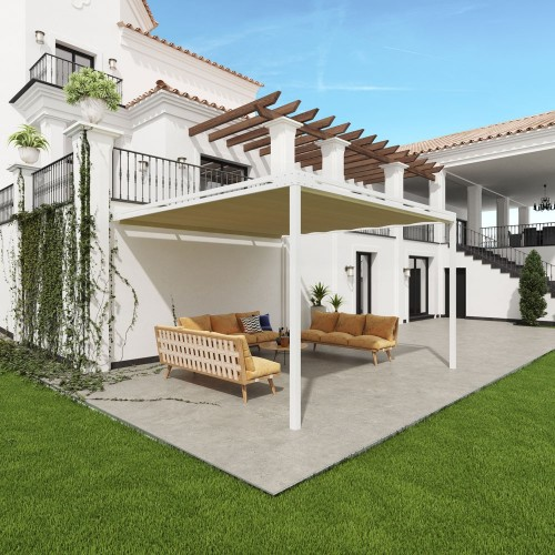 Pergola Bianca Retractable Wall-Leaning